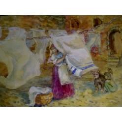 """Картина """"Сушка белья"""" выполнена акварелью и гуашью - 15 x 21 см"""