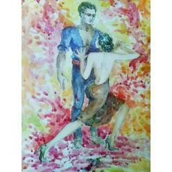 """Картина """"Танго"""" выполнена акварелью и тушью-пером - 35 x 25 см"""