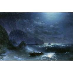 """Репродукция картины И. К. Айвазовского """"Буря на море ночью"""" 1895 год (IKA-0209)"""