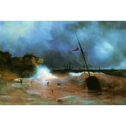 """Репродукция картины И. К. Айвазовского """"Конец бури на море"""" 1893 год (IKA-0203)"""
