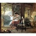 """Репродукция картины Карла Брюллова """"Итальянка, ожидающая ребенка, разглядывает рубашку, муж сколачивает колыбель"""". 1831 год (KBR-0618)"""