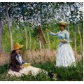 "Репродукция картины Клода Моне ""In The Woods At Giverny Blanche Hoschede Monet At Her Easel With Suzzanne Hoschede Reading"" 1887 (CMN-4152)"