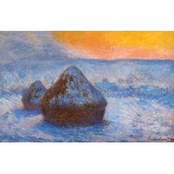 """Репродукция картины Клода Моне """"Grainstacks at Sunset, Snow Effect"""" 1890-91 (CMN-4144)"""