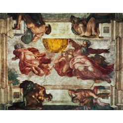 """Репродукция картины Микеланджело Буонарроти """"Сотворение солнца и луны"""" (до реставрации) (MLB-8199)"""