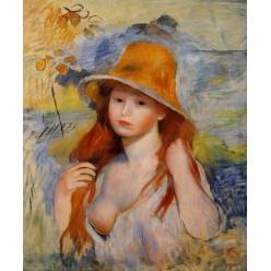 """Репродукция картины Пьера Огюста Ренуара """"Молодая женщина в соломенной шляпе"""" - 1884 год (PAR-0713)"""