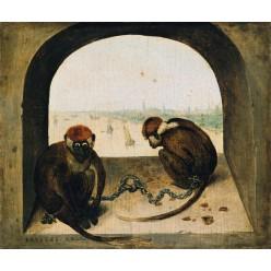 """Репродукция картины Питера Брейгеля (старшего) """"Две цепные обезьянки"""" (PBG-0820)"""