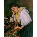 """Репродукция картины Поля Сезанна """"Молодая итальянка отдыхает, опёршись на локоть"""", около 1900 года (PCZ-9937)"""