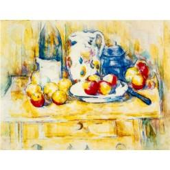 """Репродукция картины Поля Сезанна """"Натюрморт с яблоками, бутылкой и кувшином молока"""" (PCZ-9930)"""