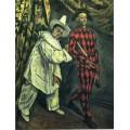 """Репродукция картины Поля Сезанна """"Пьеро и Арлекин"""", 1888 год (PCZ-9928)"""
