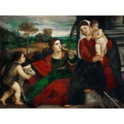 """Репродукция картины Тициана """"Мадонна с Младенцем со святыми Агнессой и Иоанном Крестителем"""" (TCN-0520)"""
